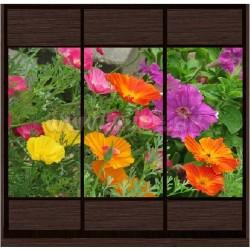 Шкаф купе с фотопечатью (дачные цветы)