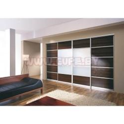 Шкаф-Купе с белым стеклом и лдсп (орех тёмный)