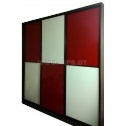 Шкаф Купе с красно-белым стеклом