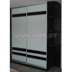 Шкаф Купе-белый лакобель с чёрными вставками