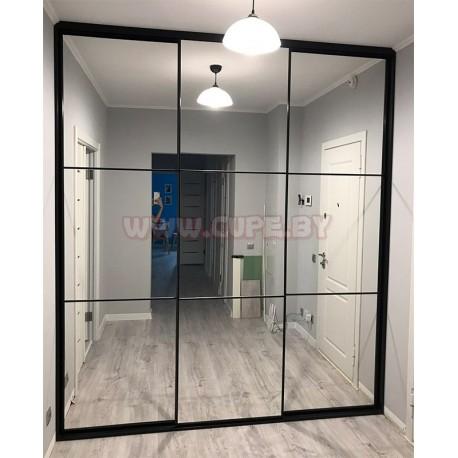 Зеркальный шкаф-купе с узкой раздвижной системой