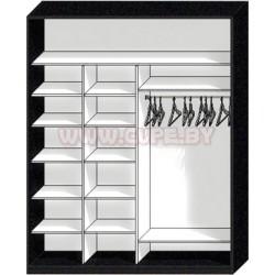 Наполнение шкафа купе на две двери, три отсека