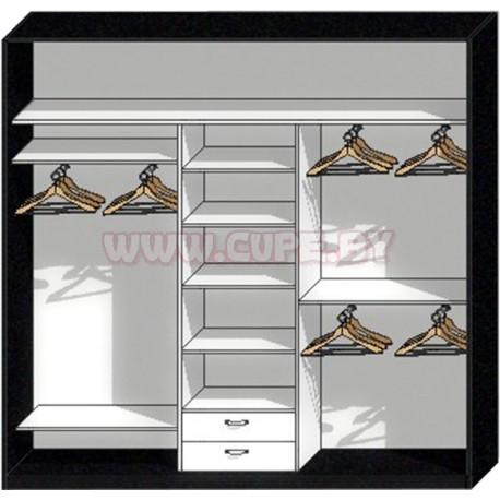 Наполнение узкого шкафа купе в спальню