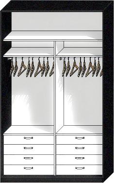 наполнение шкафа купе 2 отсека с шуфлядками