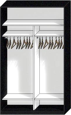 наполнение шкафа купе 2 отсека для одежды